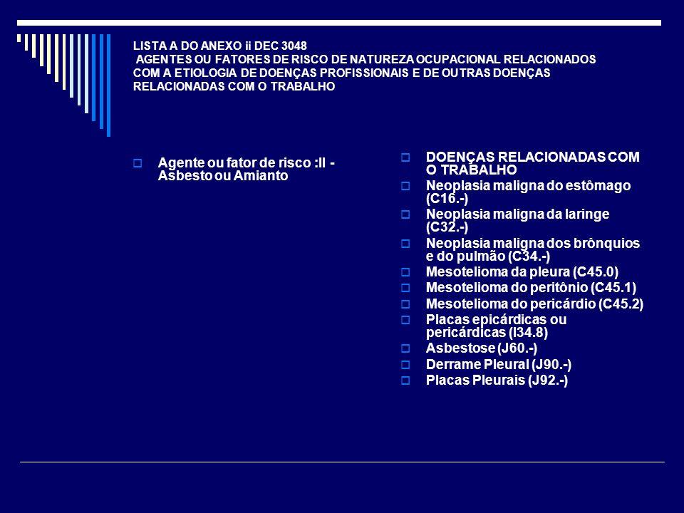 LISTA A DO ANEXO ii DEC 3048 AGENTES OU FATORES DE RISCO DE NATUREZA OCUPACIONAL RELACIONADOS COM A ETIOLOGIA DE DOENÇAS PROFISSIONAIS E DE OUTRAS DOE