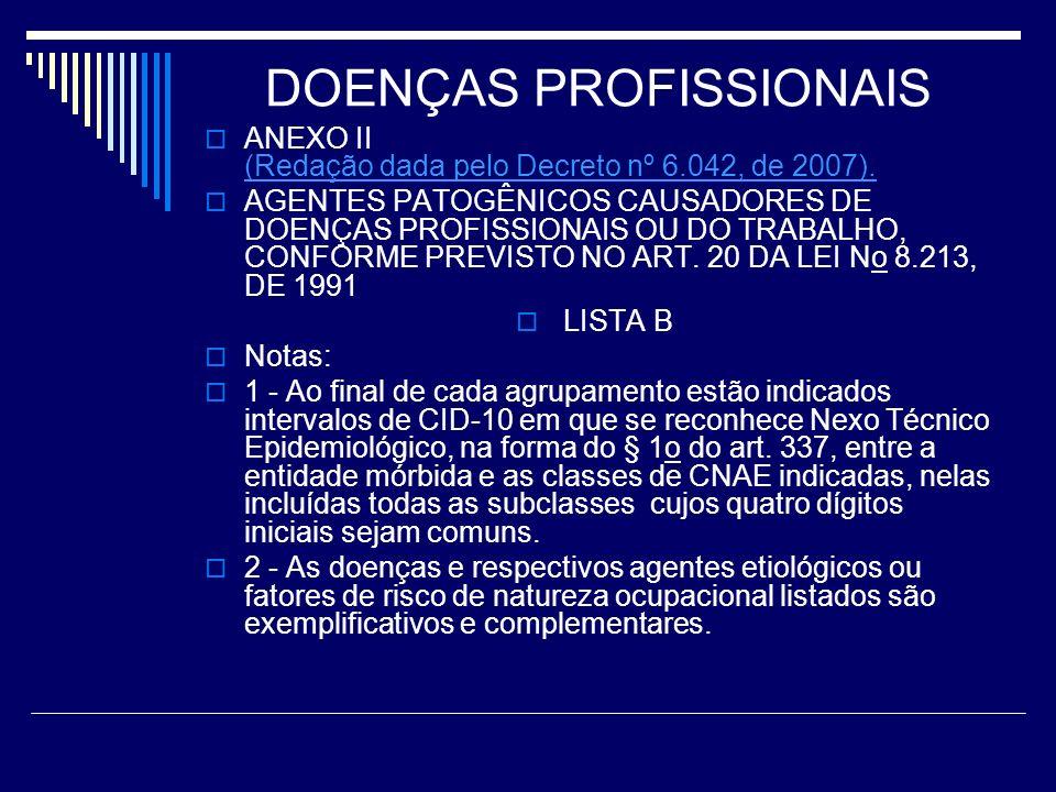 DOENÇAS PROFISSIONAIS ANEXO II (Redação dada pelo Decreto nº 6.042, de 2007). (Redação dada pelo Decreto nº 6.042, de 2007). AGENTES PATOGÊNICOS CAUSA