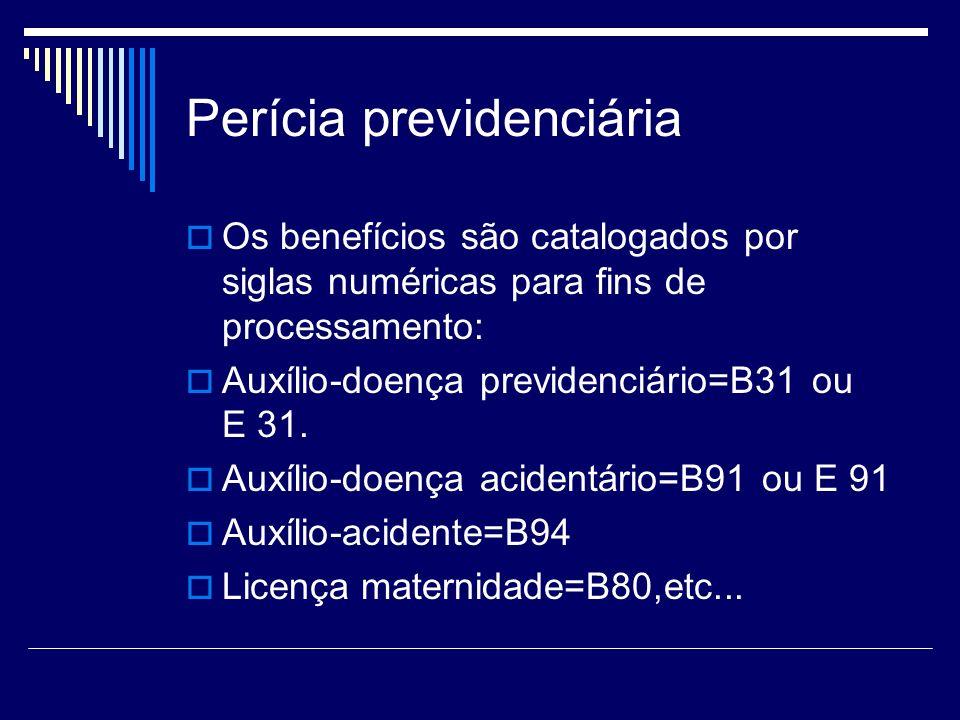Perícia previdenciária Os benefícios são catalogados por siglas numéricas para fins de processamento: Auxílio-doença previdenciário=B31 ou E 31. Auxíl