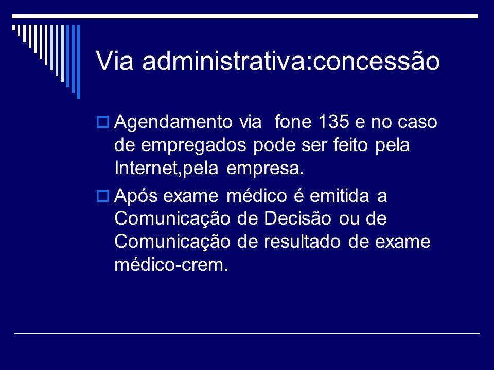Via administrativa:concessão Agendamento via fone 135 e no caso de empregados pode ser feito pela Internet,pela empresa. Após exame médico é emitida a
