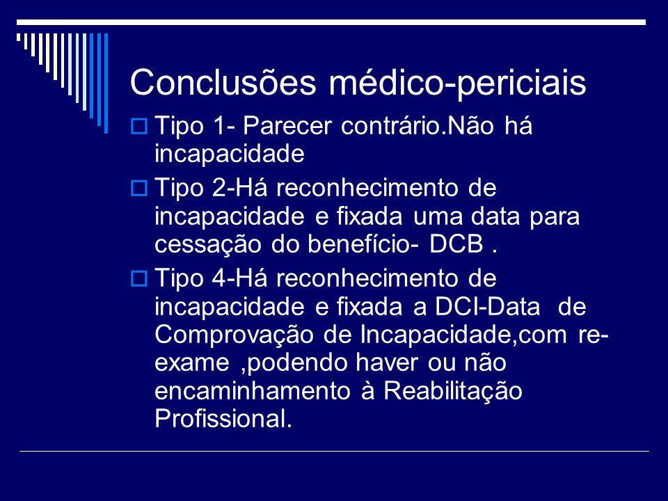 Conclusões médico-periciais Tipo 1- Parecer contrário.Não há incapacidade Tipo 2-Há reconhecimento de incapacidade e fixada uma data para cessação do