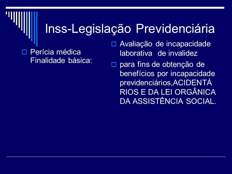 Inss-Legislação Previdenciária Perícia médica Finalidade básica: Avaliação de incapacidade laborativa de invalidez para fins de obtenção de benefícios