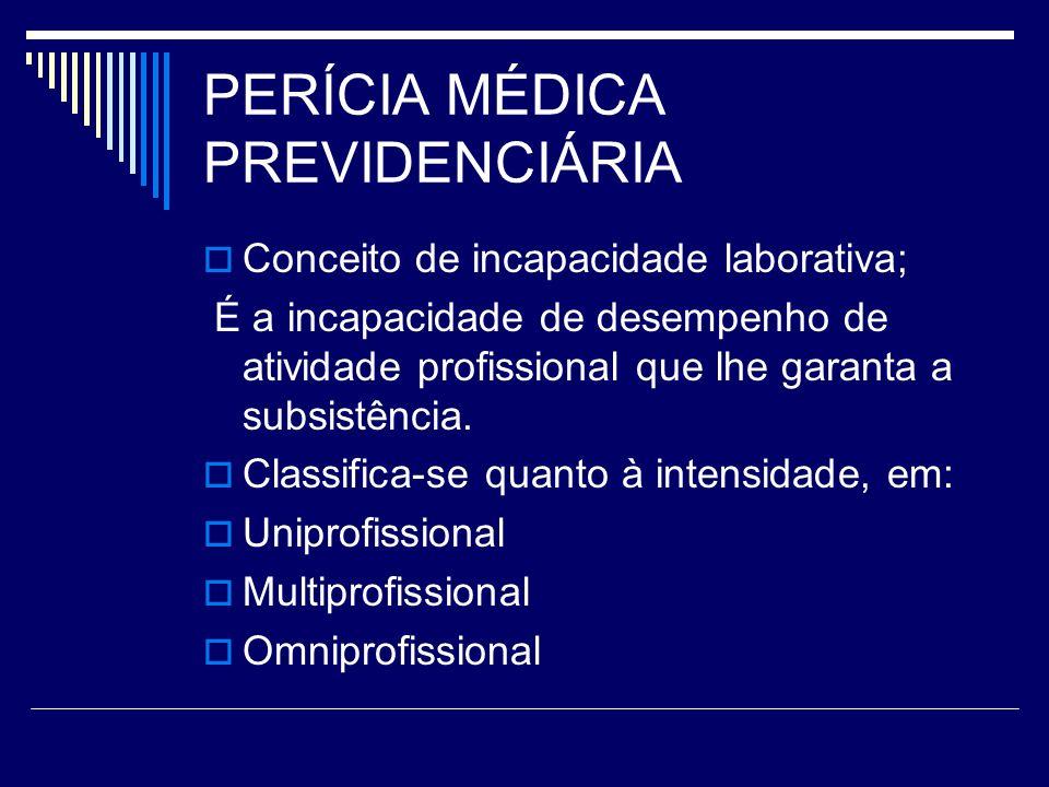 PERÍCIA MÉDICA PREVIDENCIÁRIA Conceito de incapacidade laborativa; É a incapacidade de desempenho de atividade profissional que lhe garanta a subsistê