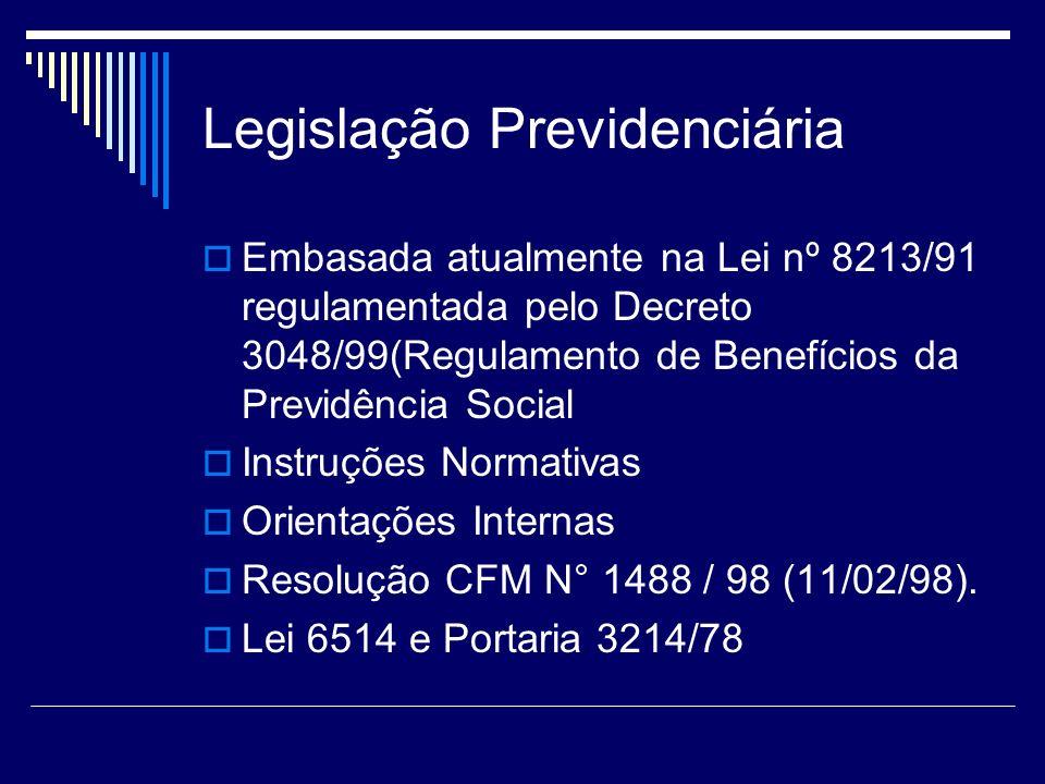Legislação Previdenciária Embasada atualmente na Lei nº 8213/91 regulamentada pelo Decreto 3048/99(Regulamento de Benefícios da Previdência Social Ins