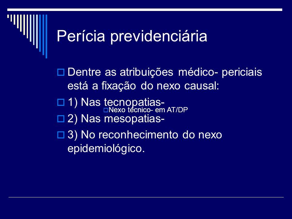Perícia previdenciária Dentre as atribuições médico- periciais está a fixação do nexo causal: 1) Nas tecnopatias- 2) Nas mesopatias- 3) No reconhecime