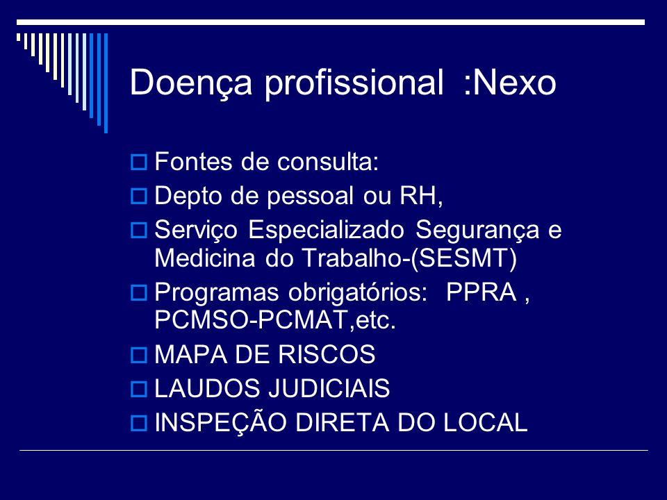 Doença profissional :Nexo Fontes de consulta: Depto de pessoal ou RH, Serviço Especializado Segurança e Medicina do Trabalho-(SESMT) Programas obrigat