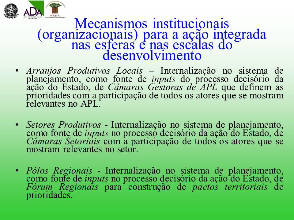 Mecanismos institucionais (organizacionais) para a ação integrada nas esferas e nas escalas do desenvolvimento Arranjos Produtivos Locais – Internaliz