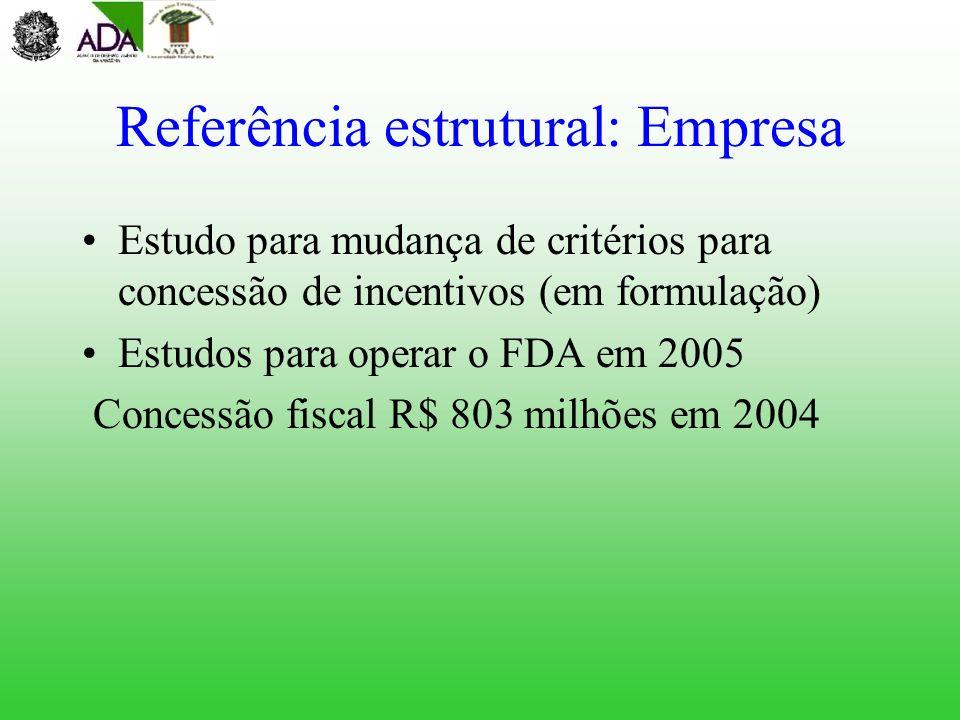 Referência estrutural: Empresa Estudo para mudança de critérios para concessão de incentivos (em formulação) Estudos para operar o FDA em 2005 Concess