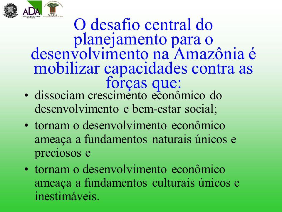 O desafio central do planejamento para o desenvolvimento na Amazônia é mobilizar capacidades contra as forças que: dissociam crescimento econômico do