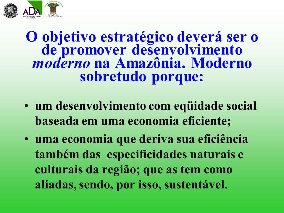 O objetivo estratégico deverá ser o de promover desenvolvimento moderno na Amazônia. Moderno sobretudo porque: um desenvolvimento com eqüidade social