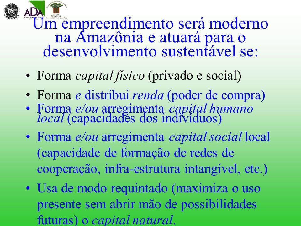 Um empreendimento será moderno na Amazônia e atuará para o desenvolvimento sustentável se: Forma capital físico (privado e social) Forma e distribui r