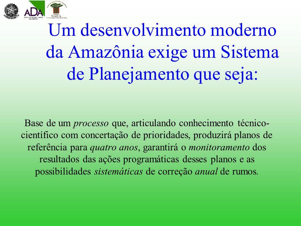 Um desenvolvimento moderno da Amazônia exige um Sistema de Planejamento que seja: Base de um processo que, articulando conhecimento técnico- científic