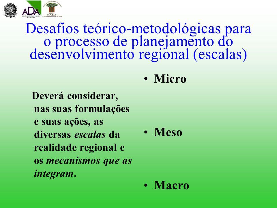 Desafios teórico-metodológicas para o processo de planejamento do desenvolvimento regional (escalas) Deverá considerar, nas suas formulações e suas aç