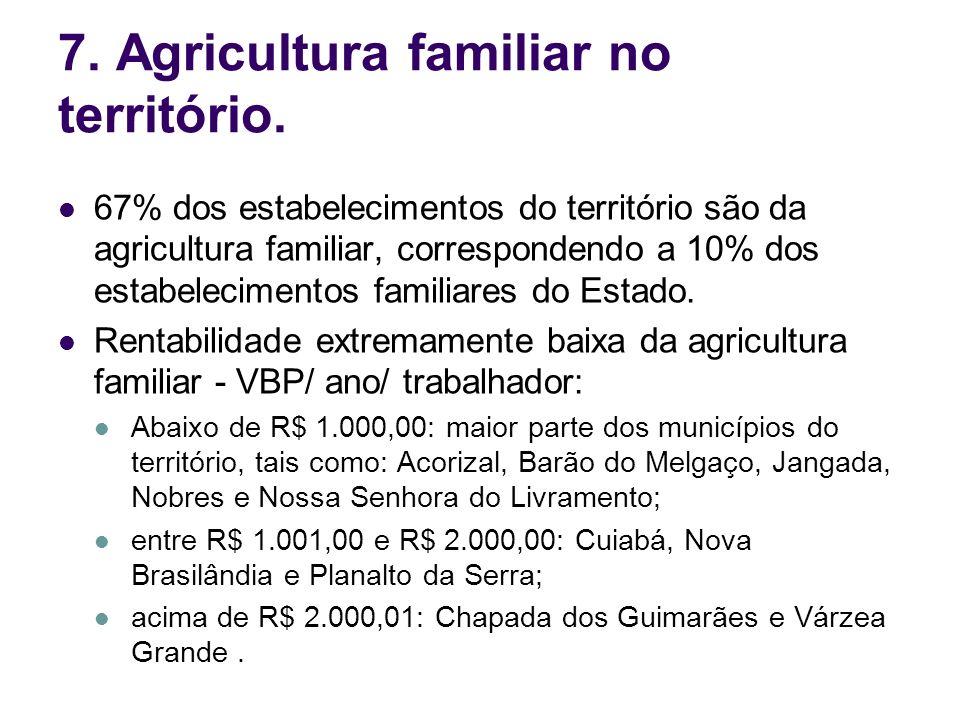 7. Agricultura familiar no território. 67% dos estabelecimentos do território são da agricultura familiar, correspondendo a 10% dos estabelecimentos f