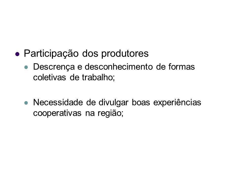 Participação dos produtores Descrença e desconhecimento de formas coletivas de trabalho; Necessidade de divulgar boas experiências cooperativas na reg