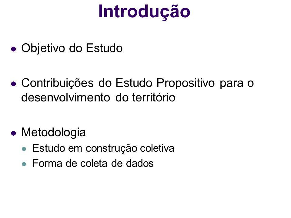 Introdução Objetivo do Estudo Contribuições do Estudo Propositivo para o desenvolvimento do território Metodologia Estudo em construção coletiva Forma