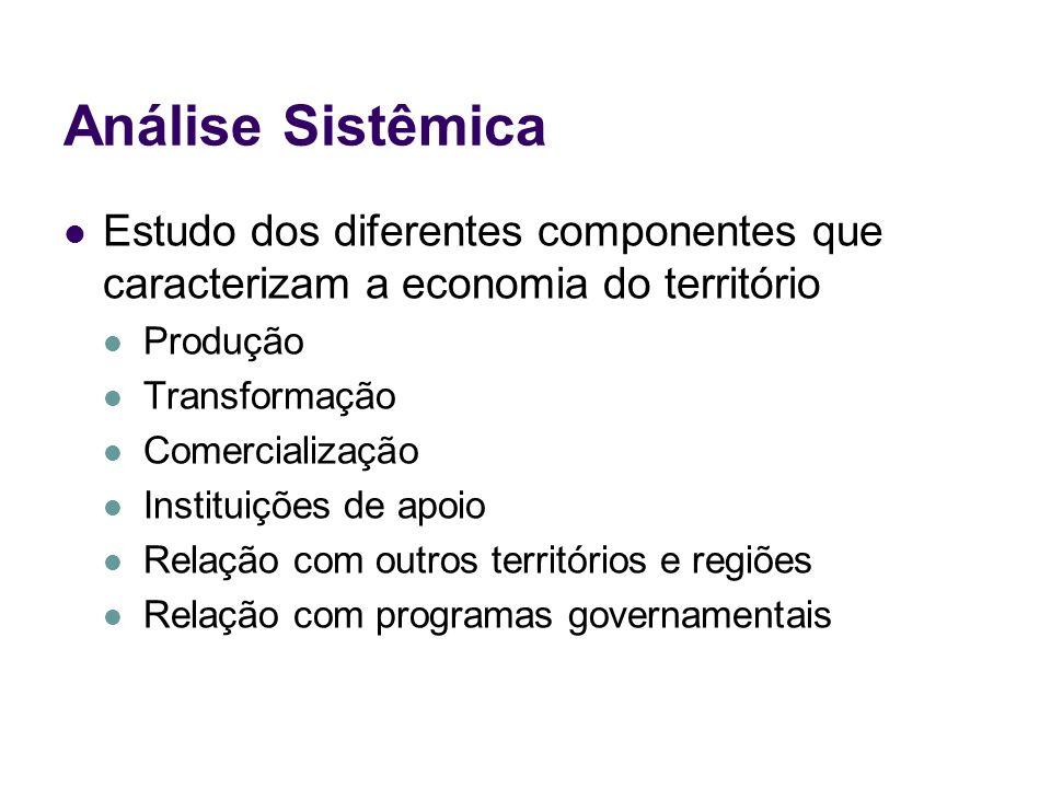 Análise Sistêmica Estudo dos diferentes componentes que caracterizam a economia do território Produção Transformação Comercialização Instituições de a