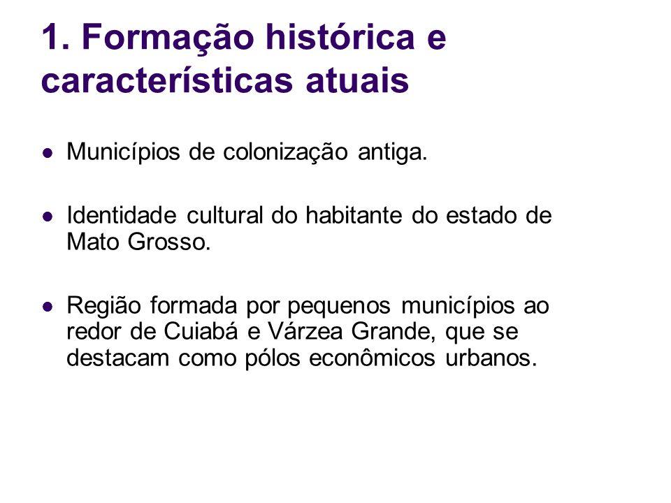 1. Formação histórica e características atuais Municípios de colonização antiga. Identidade cultural do habitante do estado de Mato Grosso. Região for