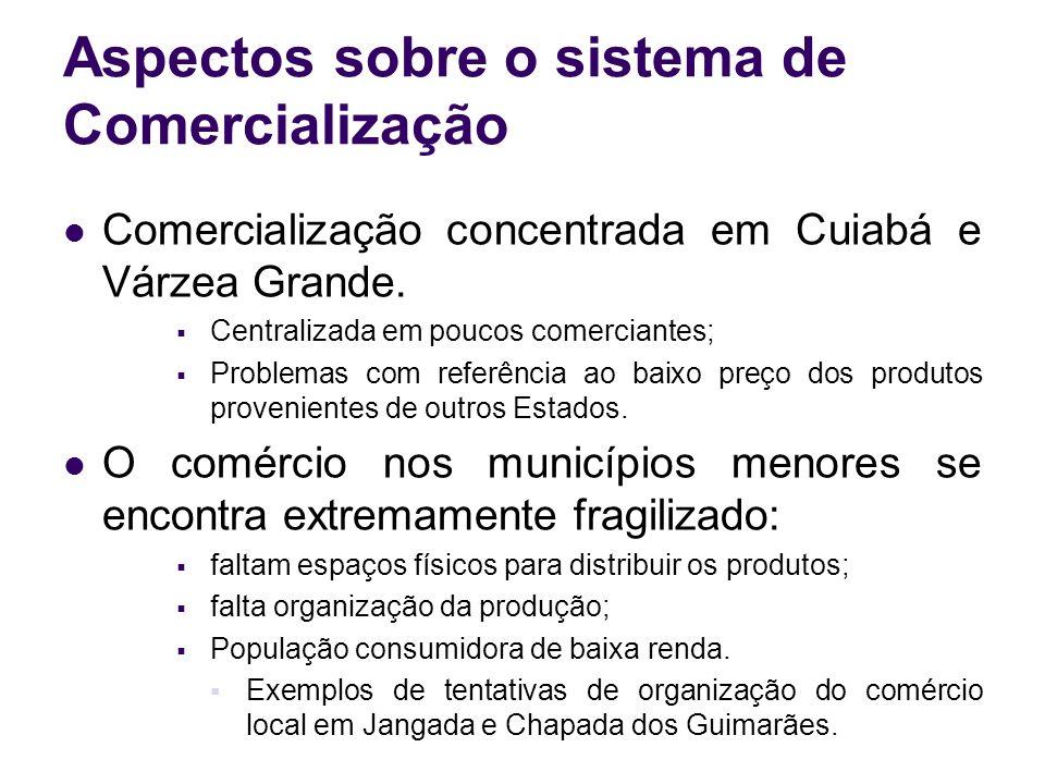 Aspectos sobre o sistema de Comercialização Comercialização concentrada em Cuiabá e Várzea Grande. Centralizada em poucos comerciantes; Problemas com