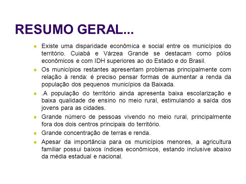 RESUMO GERAL... Existe uma disparidade econômica e social entre os municípios do território. Cuiabá e Várzea Grande se destacam como pólos econômicos
