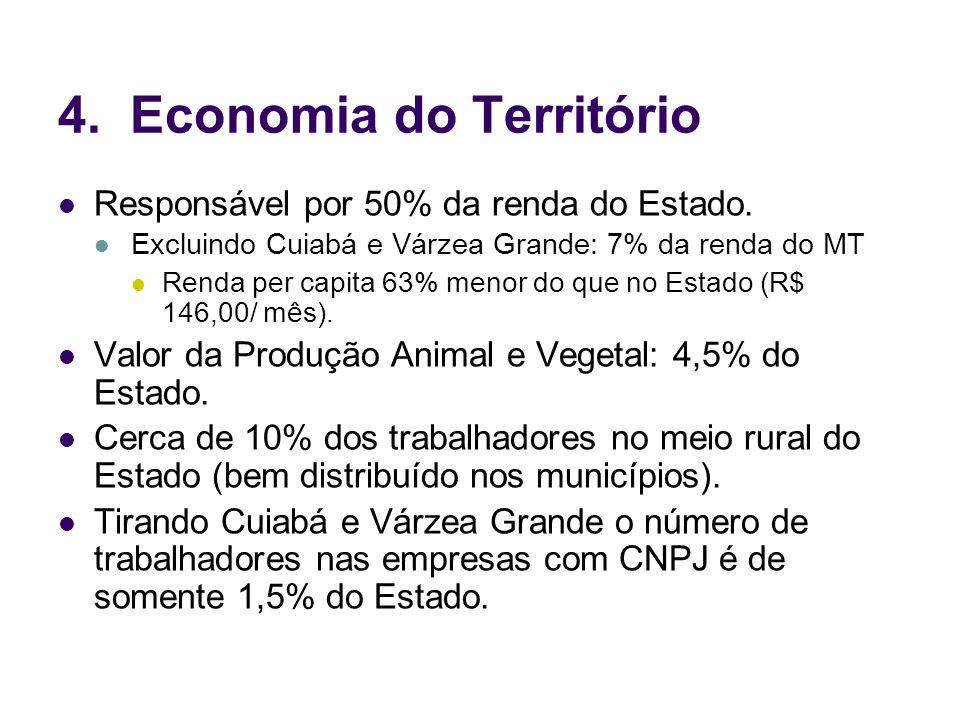 4. Economia do Território Responsável por 50% da renda do Estado. Excluindo Cuiabá e Várzea Grande: 7% da renda do MT Renda per capita 63% menor do qu