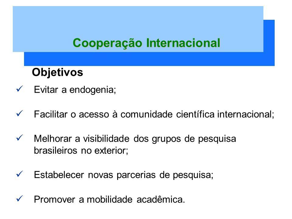 Evitar a endogenia; Facilitar o acesso à comunidade científica internacional; Melhorar a visibilidade dos grupos de pesquisa brasileiros no exterior; Estabelecer novas parcerias de pesquisa; Promover a mobilidade acadêmica.