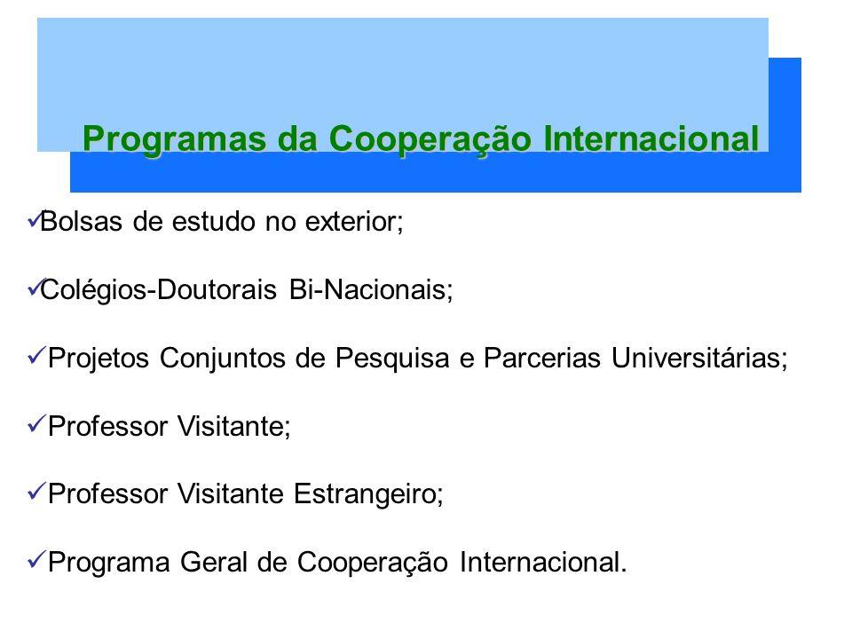 Bolsas de estudo no exterior; Colégios-Doutorais Bi-Nacionais; Projetos Conjuntos de Pesquisa e Parcerias Universitárias; Professor Visitante; Professor Visitante Estrangeiro; Programa Geral de Cooperação Internacional.