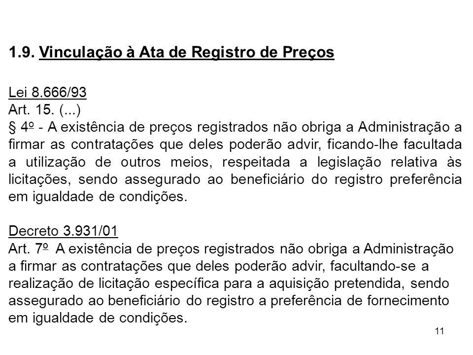 11 1.9. Vinculação à Ata de Registro de Preços Lei 8.666/93 Art. 15. (...) § 4 o - A existência de preços registrados não obriga a Administração a fir
