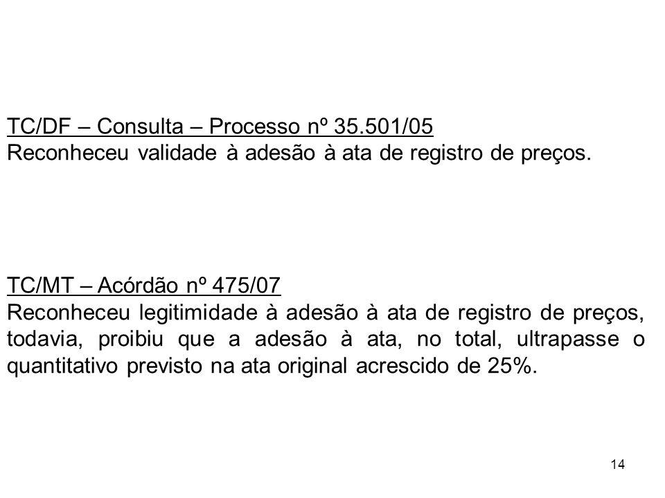 14 TC/DF – Consulta – Processo nº 35.501/05 Reconheceu validade à adesão à ata de registro de preços. TC/MT – Acórdão nº 475/07 Reconheceu legitimidad