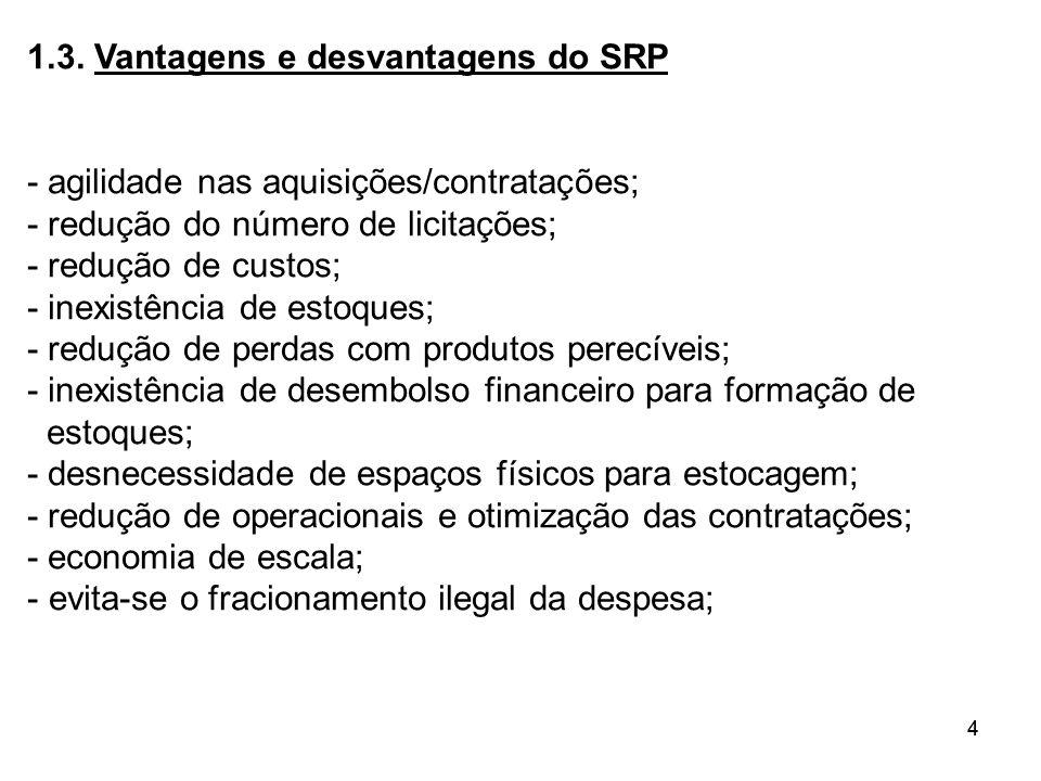 44 1.3. Vantagens e desvantagens do SRP - agilidade nas aquisições/contratações; - redução do número de licitações; - redução de custos; - inexistênci