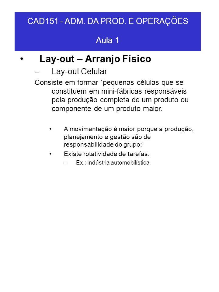 CAD151 - ADM. DA PROD. E OPERAÇÕES Aula 1 Lay-out – Arranjo Físico –Lay-out Celular Consiste em formar ´pequenas células que se constituem em mini-fáb
