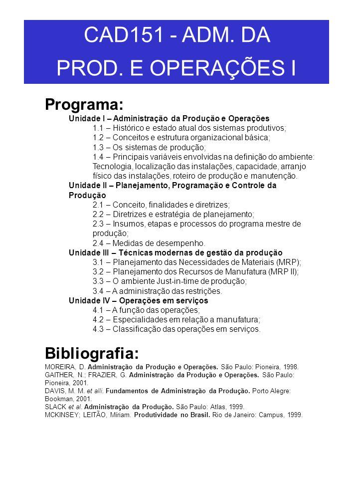 Programa: Unidade I – Administração da Produção e Operações 1.1 – Histórico e estado atual dos sistemas produtivos; 1.2 – Conceitos e estrutura organi