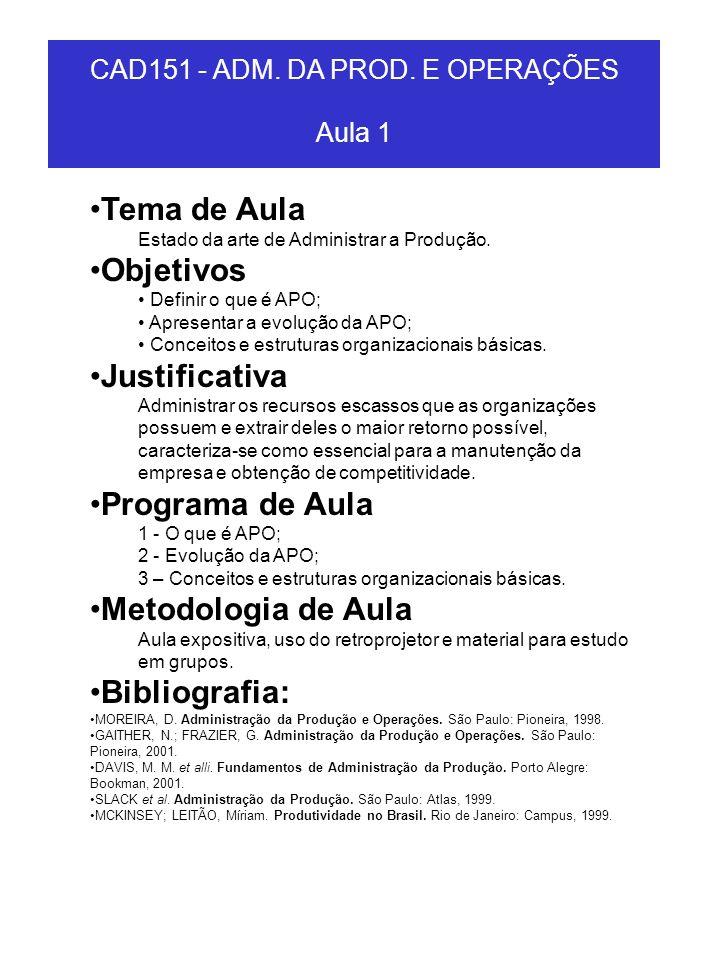 CAD151 - ADM.DA PROD. E OPERAÇÕES Aula 6 Tema de Aula Manutenção.