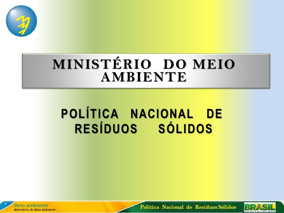 Política Nacional de Resíduos Sólidos MINISTÉRIO DO MEIO AMBIENTE POLÍTICA NACIONAL DE RESÍDUOS SÓLIDOS RESÍDUOS SÓLIDOS