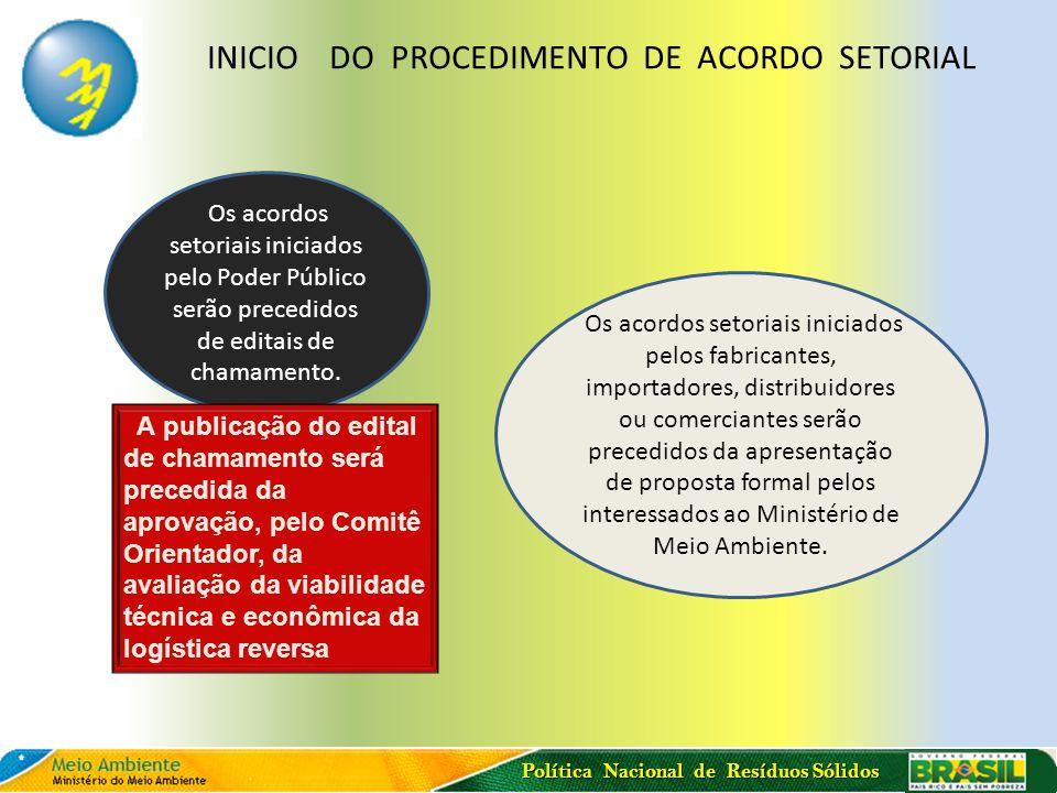 Política Nacional de Resíduos Sólidos Os acordos setoriais iniciados pelo Poder Público serão precedidos de editais de chamamento. Os acordos setoriai