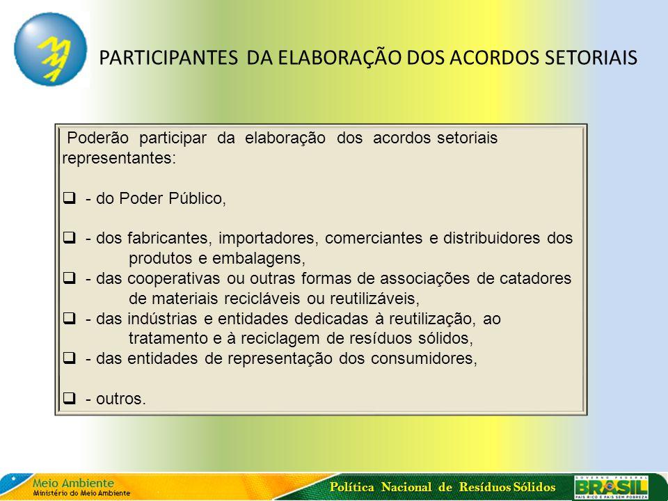 Política Nacional de Resíduos Sólidos Poderão participar da elaboração dos acordos setoriais representantes: - do Poder Público, - dos fabricantes, im