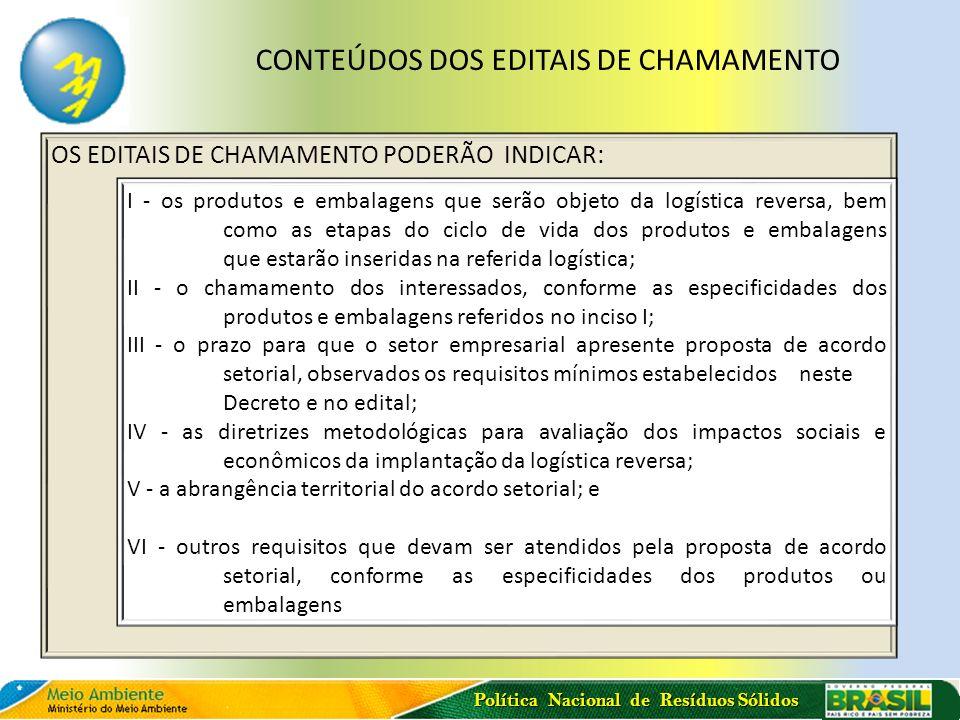 Política Nacional de Resíduos Sólidos OS EDITAIS DE CHAMAMENTO PODERÃO INDICAR: I - os produtos e embalagens que serão objeto da logística reversa, be