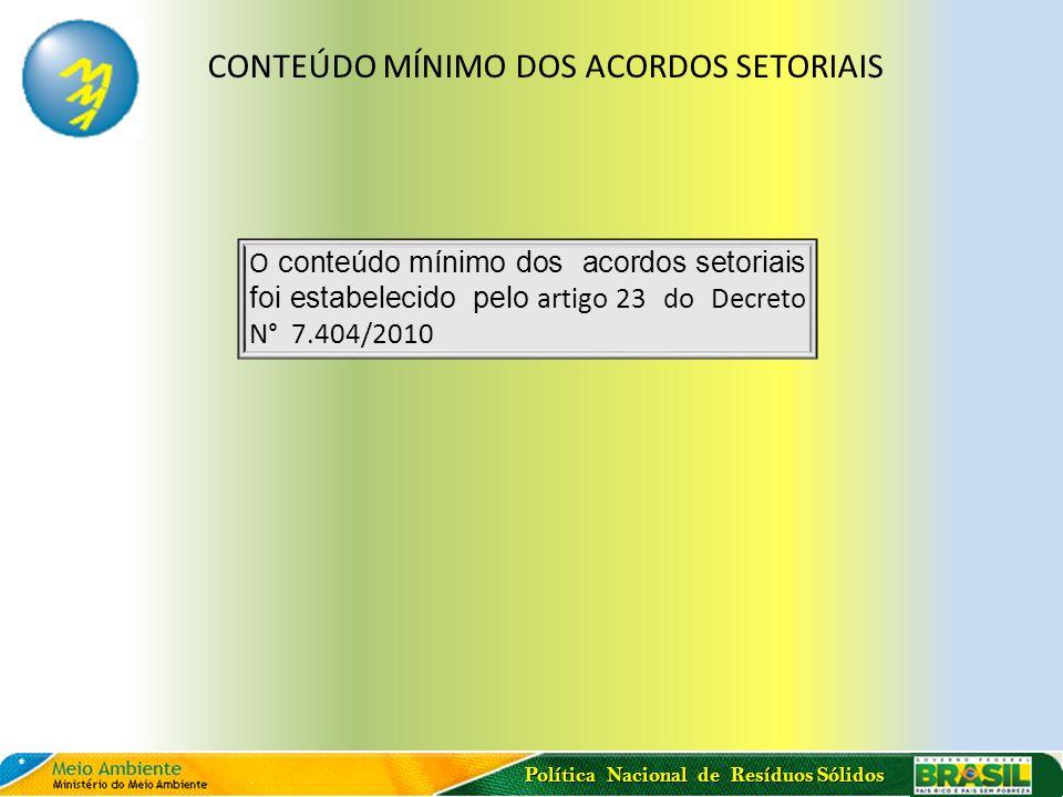 Política Nacional de Resíduos Sólidos CONTEÚDO MÍNIMO DOS ACORDOS SETORIAIS O conteúdo mínimo dos acordos setoriais foi estabelecido pelo artigo 23 do