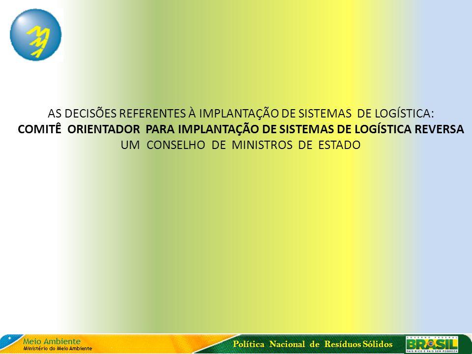 Política Nacional de Resíduos Sólidos AS DECISÕES REFERENTES À IMPLANTAÇÃO DE SISTEMAS DE LOGÍSTICA: COMITÊ ORIENTADOR PARA IMPLANTAÇÃO DE SISTEMAS DE