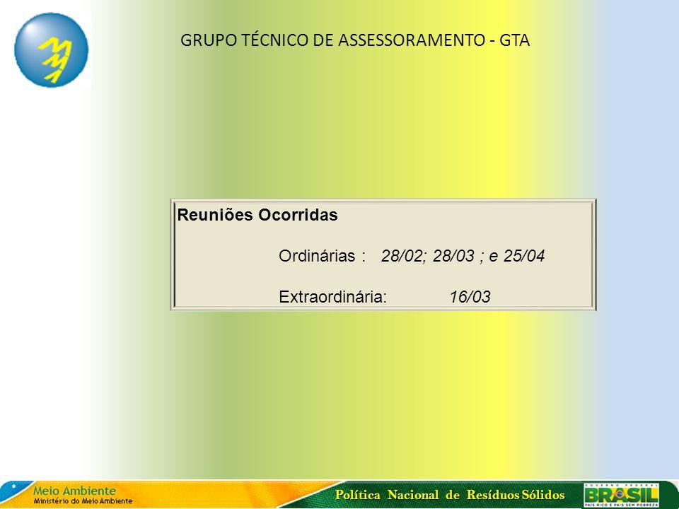 Política Nacional de Resíduos Sólidos Reuniões Ocorridas Ordinárias : 28/02; 28/03 ; e 25/04 Extraordinária: 16/03 GRUPO TÉCNICO DE ASSESSORAMENTO - G