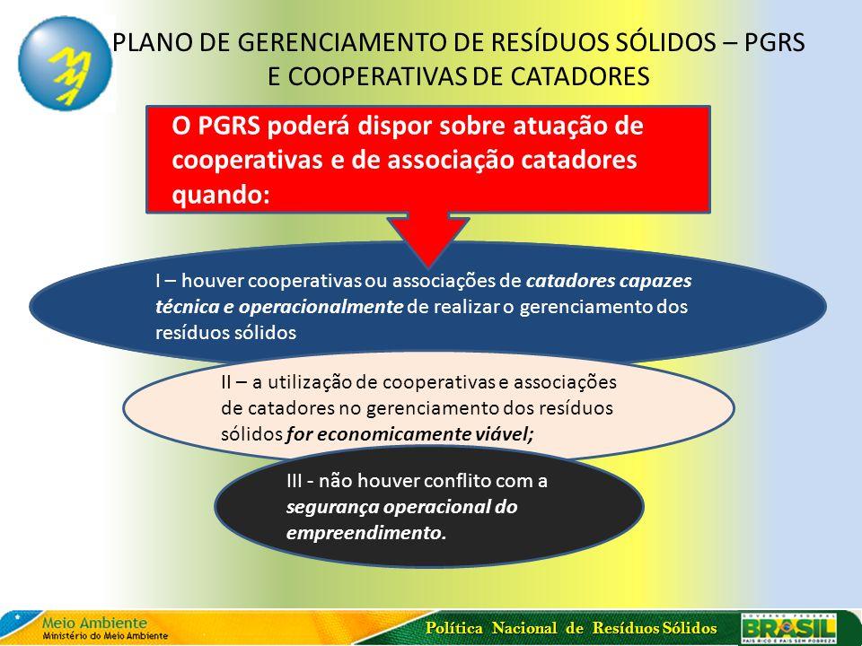 Política Nacional de Resíduos Sólidos PLANO DE GERENCIAMENTO DE RESÍDUOS SÓLIDOS – PGRS E COOPERATIVAS DE CATADORES I – houver cooperativas ou associa
