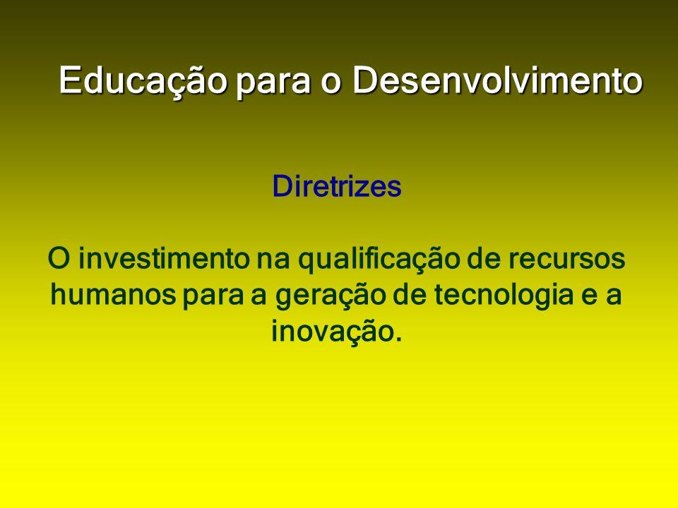 Educação para o Desenvolvimento Diretrizes O investimento na qualificação de recursos humanos para a geração de tecnologia e a inovação.
