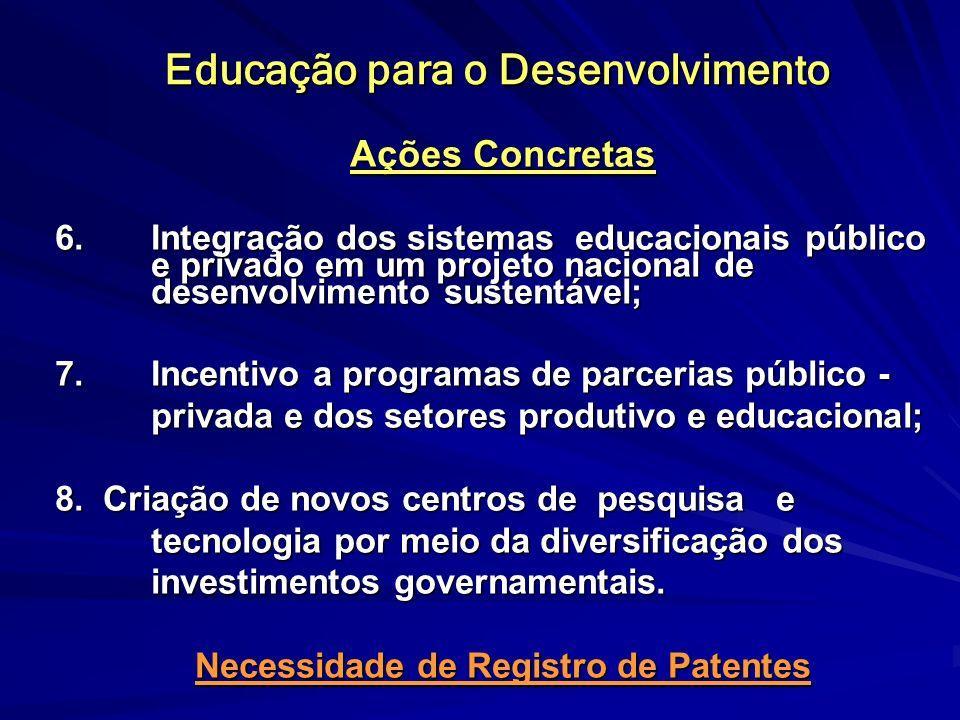 Educação para o Desenvolvimento Ações Concretas 6. Integração dos sistemas educacionais público e privado em um projeto nacional de desenvolvimento su