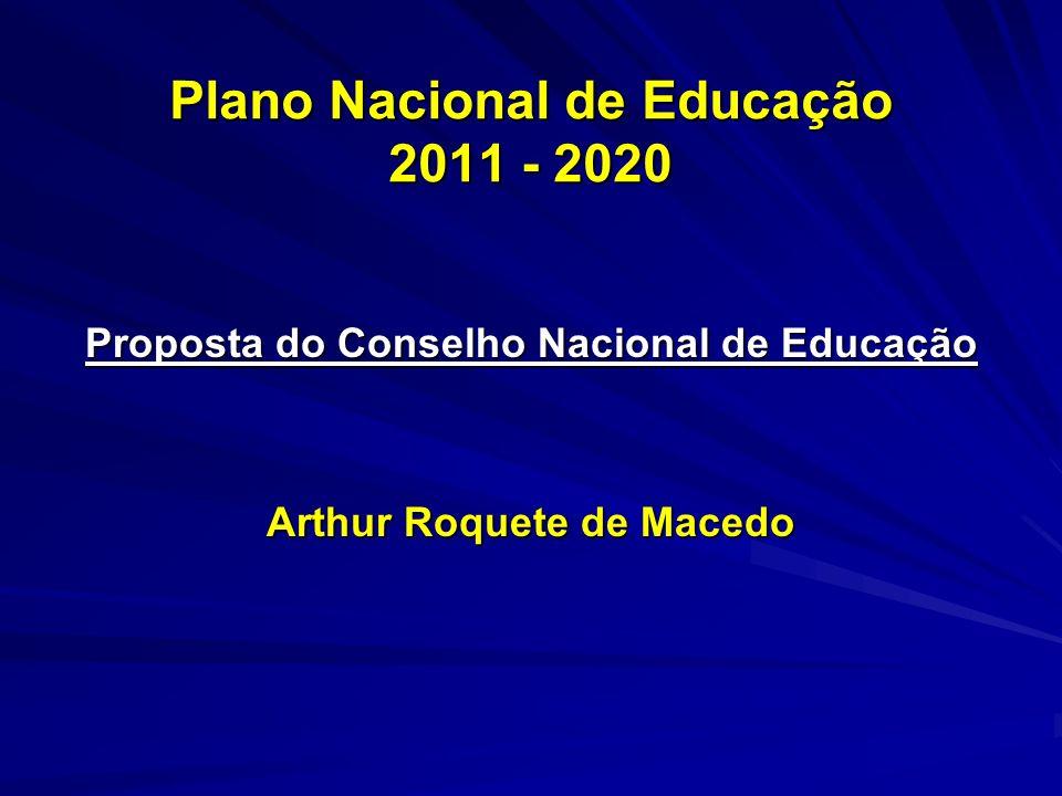 Plano Nacional de Educação 2011 - 2020 Proposta do Conselho Nacional de Educação Arthur Roquete de Macedo