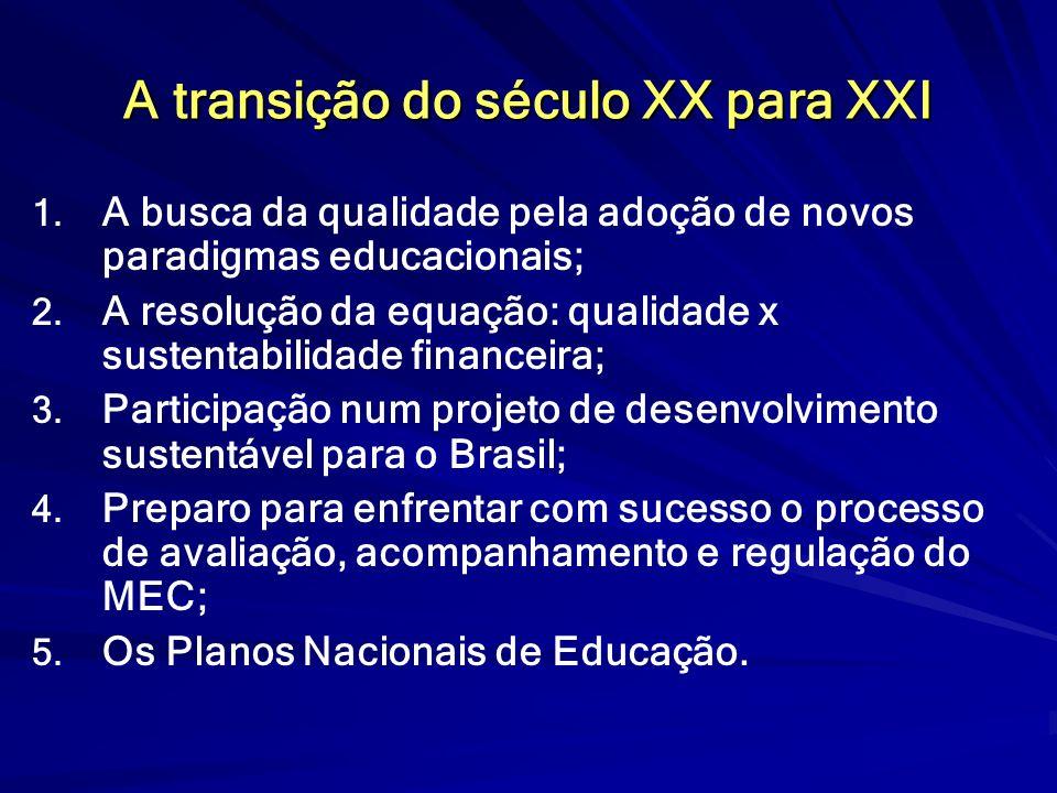 A transição do século XX para XXI 1. 1. A busca da qualidade pela adoção de novos paradigmas educacionais; 2. 2. A resolução da equação: qualidade x s