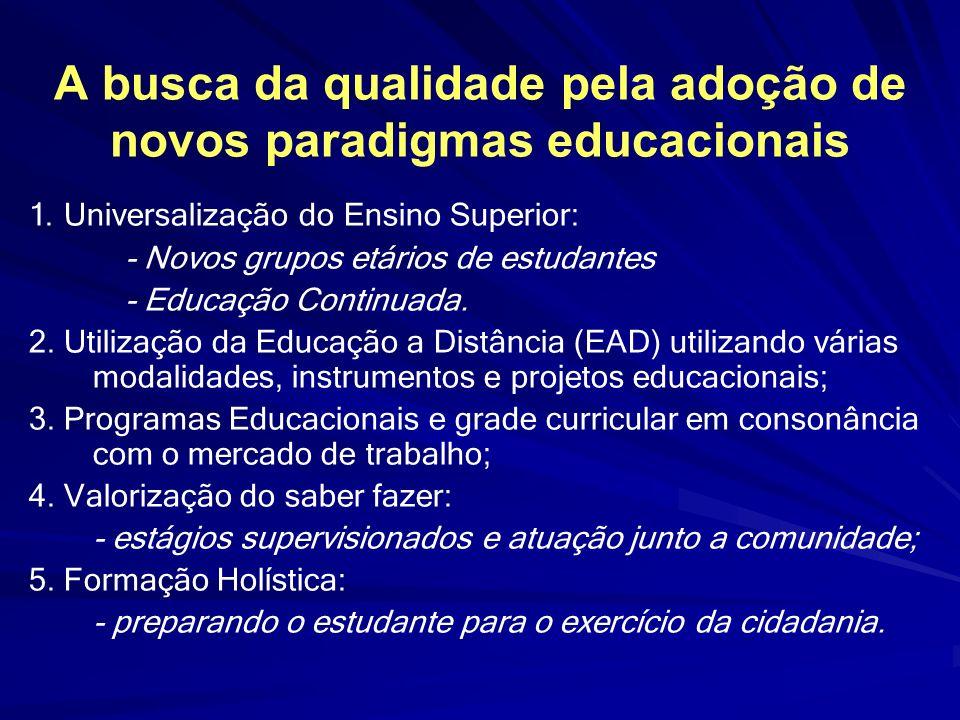 A busca da qualidade pela adoção de novos paradigmas educacionais 1. Universalização do Ensino Superior: - Novos grupos etários de estudantes - Educaç