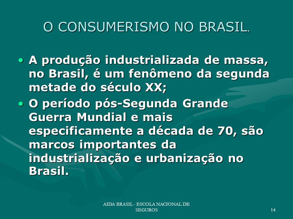 AIDA BRASIL - ESCOLA NACIONAL DE SEGUROS14 O CONSUMERISMO NO BRASIL. A produção industrializada de massa, no Brasil, é um fenômeno da segunda metade d