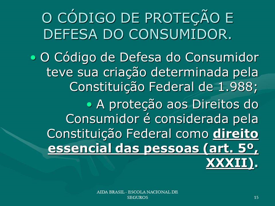 AIDA BRASIL - ESCOLA NACIONAL DE SEGUROS15 O CÓDIGO DE PROTEÇÃO E DEFESA DO CONSUMIDOR. O Código de Defesa do Consumidor teve sua criação determinada