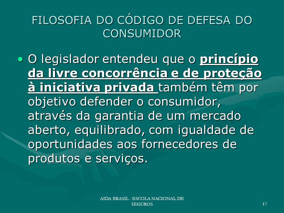 AIDA BRASIL - ESCOLA NACIONAL DE SEGUROS17 FILOSOFIA DO CÓDIGO DE DEFESA DO CONSUMIDOR O legislador entendeu que o princípio da livre concorrência e d
