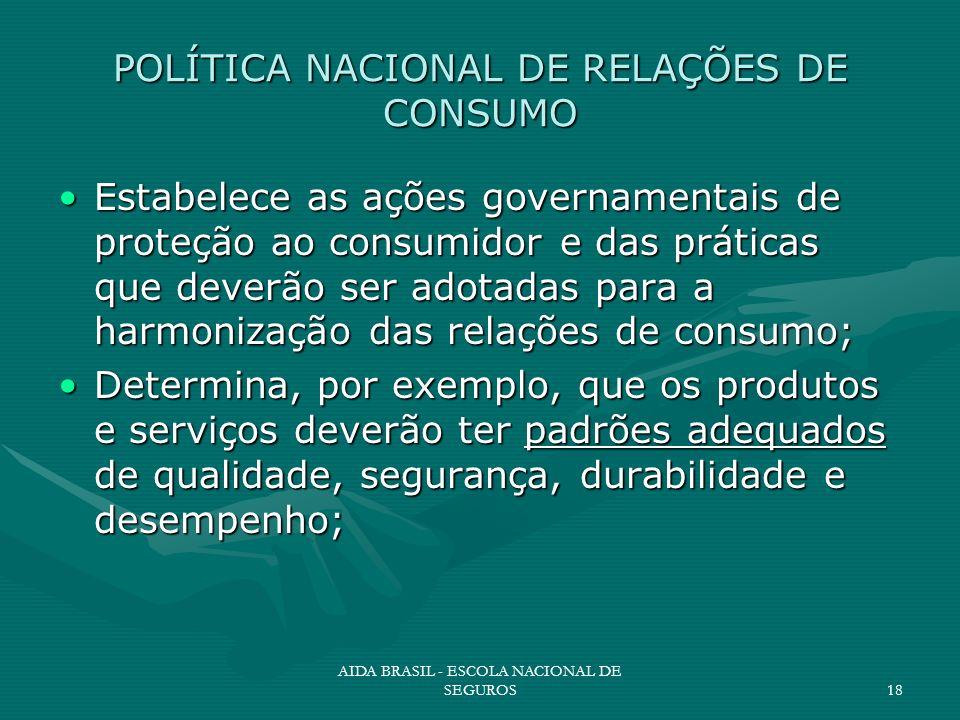 AIDA BRASIL - ESCOLA NACIONAL DE SEGUROS18 POLÍTICA NACIONAL DE RELAÇÕES DE CONSUMO Estabelece as ações governamentais de proteção ao consumidor e das